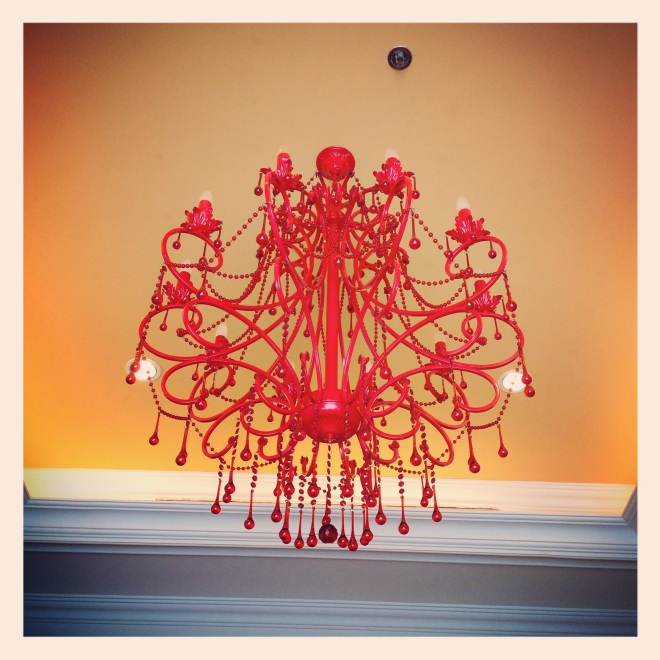 Red. Chandelier.
